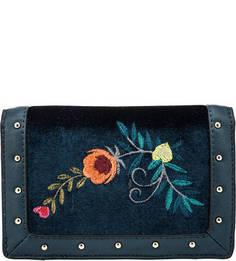 Синий текстильный кошелек с цветочной вышивкой Trussardi Jeans