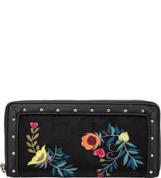 Черный текстильный кошелек с цветочной вышивкой Trussardi Jeans