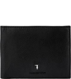 Черное кожаное портмоне с двумя отделами для купюр Trussardi Jeans