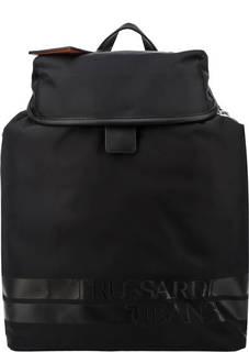 Вместительный текстильный рюкзак черного цвета Trussardi Jeans