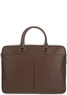 Коричневая кожаная сумка с отделением для ноутбука Odin Michael Kors