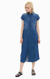 Джинсовое платье-рубашка с карманами Replay