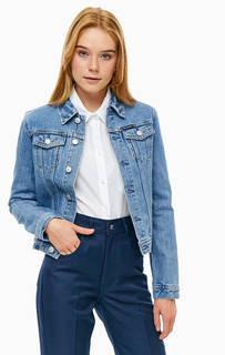 Короткая джинсовая куртка с принтом на спине Calvin Klein