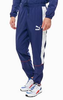 Синие брюки джоггеры с контрастными вставками Puma