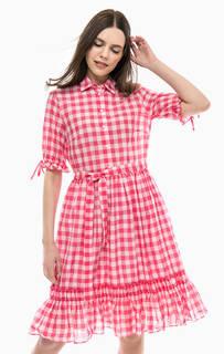 Хлопковое платье с поясом United Colors of Benetton
