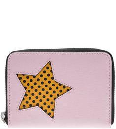 Кожаный кошелек розового цвета Metallic Pop Print Coccinelle