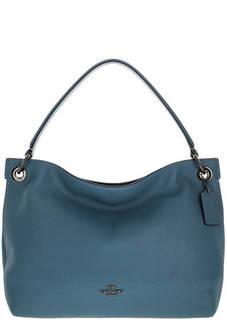 Синяя сумка из натуральной кожи Clarkson Coach