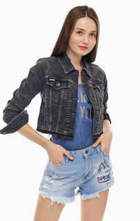 Короткая серая джинсовая куртка с необработанным краем Superdry