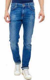 Зауженные синие джинсы с декоративными заломами Rider Lee