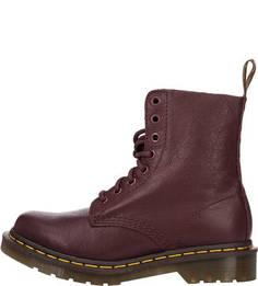 Высокие кожаные ботинки бордового цвета Dr Martens
