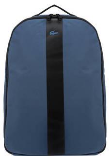 Синий текстильный рюкзак с принтом Lacoste