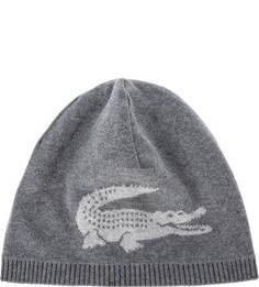 Серая двусторонняя шапка из шерсти Lacoste