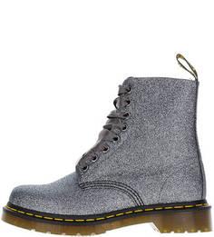 Высокие серебристые ботинки с дополнительными шнурками Dr Martens