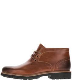 Коричневые кожаные ботинки с каблуком Clarks
