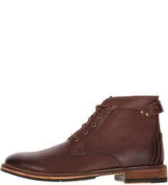 Коричневые демисезонные ботинки из натуральной кожи Clarks