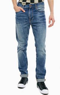 Синие джинсы с заломами Lean Dean Nudie Jeans