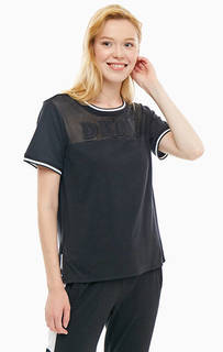 Домашняя футболка черного цвета с короткими рукавами Dkny