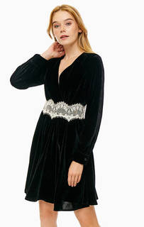 Короткое бархатное платье с расклешенной юбкой Trussardi Jeans