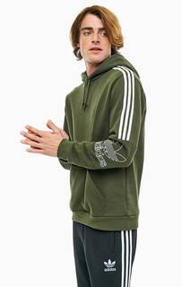 Хлопковая толстовка цвета хаки Adidas