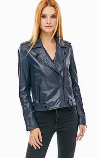 Кожаная куртка косуха синего цвета Selected