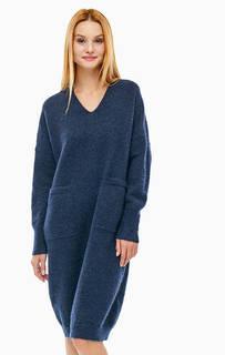 Синее платье из смесовой шерсти с карманами Selected