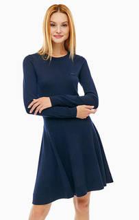 Синее шерстяное платье тонкой вязки Lacoste