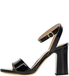 Черные лаковые босоножки на каблуке Unisa