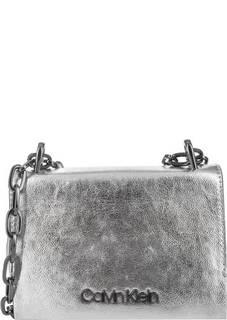Маленькая серебристая сумка через плечо Calvin Klein