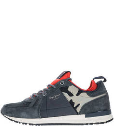 Синие кроссовки на шнуровке Pepe Jeans