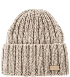 Вязаная бежевая шапка с отворотом Noryalli