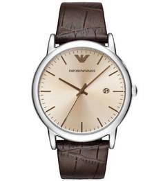 Кварцевые часы на кожаном ремешке с выделкой Emporio Armani