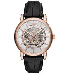 Механические часы на кожаном ремешке с выделкой Emporio Armani