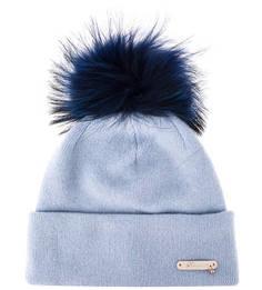 Синяя шерстяная шапка с помпоном Noryalli