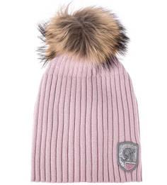 Розовая шерстяная шапка с помпоном Noryalli