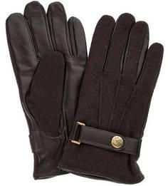 Коричневые перчатки из кашемира и натуральной кожи Eleganzza