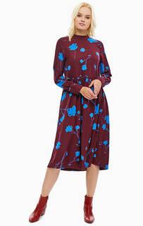 Бордовое платье с цветочным принтом Vero Moda