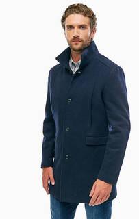 Синее шерстяное пальто с карманами Selected