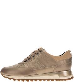 Бежевые кроссовки на шнуровке Geox
