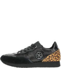 Черные кроссовки с пайетками Guess