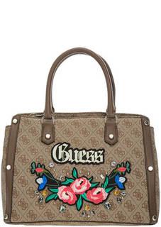 Коричневая сумка с нашивками Guess