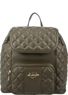 Стеганый рюкзак цвета хаки с откидным клапаном Love Moschino