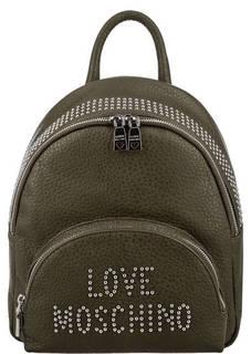 Рюкзак цвета хаки с металлическим декором Love Moschino
