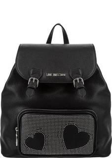 Черный рюкзак с металлическим декором Love Moschino