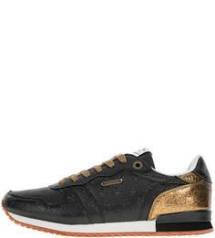 Черные кроссовки на шнуровке Pepe Jeans