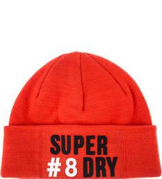 Оранжевая трикотажная шапка с нашивками Superdry