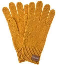 Желтые вязаные перчатки Pepe Jeans