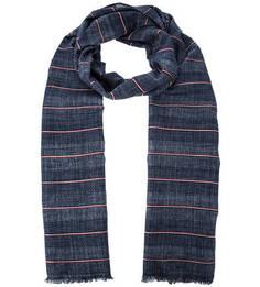 Синий хлопковый шарф в полоску Tommy Hilfiger