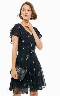 Черное платье с расклешенной юбкой Guess