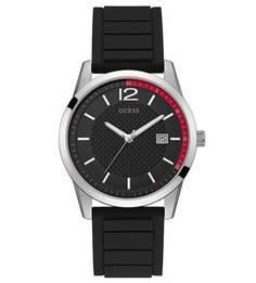 Кварцевые часы с черным силиконовым ремешком Guess
