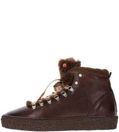 Демисезонные кожаные ботинки с отделкой камнями Nobrand